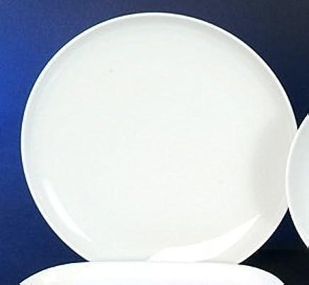 Preisvergleich für 6 Speiseteller 25cm Teller flach Atelier Weiss Neu Rund Porzellan 6 Personen