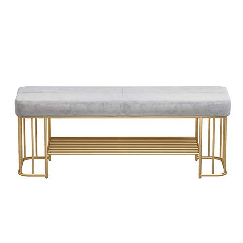 Shoe bench Asientos acolchados de terciopelo otomano para Entrada Dormitorio Armario y almacenamiento de pasillos Banco de mesa Entrance bench with shoe storage ( Color : Gray , Size : 100x35x45cm )