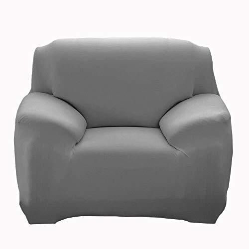 JS One Stretchable 1 Plazas Funda de Sofá Slipcover Couch Protector - (90-140cm) Gris