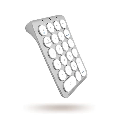 Macally Slim Rechargeable Bluetooth Keypad - Enter Data Efficiently - Wireless Number Pad for Laptop with 22 Round Keys, LED Indicators, and Sleek Aluminum Body - Bluetooth Numeric Keypad for Mac   PC