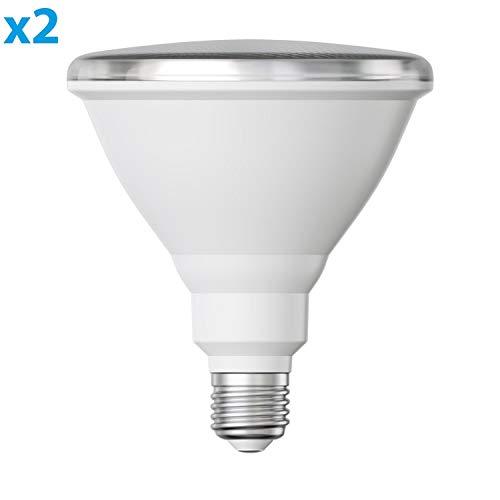 ledscom.de E27 PAR38 LED Reflektor-Leuchtmittel 16W =151W 1300lm warm-weiß A+ auch wetterfest mit kurzem Hals, 2 Stk.