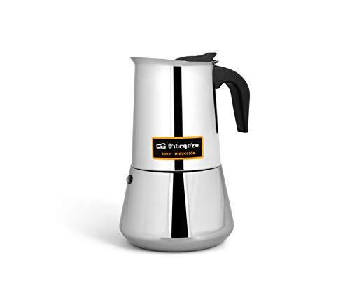 Orbegozo KFI 460 - Cafetera Italiana, 4 Tazas, Asa, Válvula de Seguridad, Acero Inoxidable