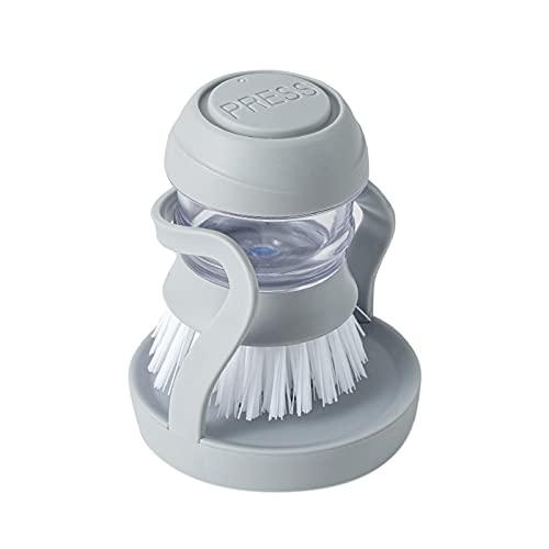 Cepillo para Lavar Platos,Cepillo de Palma dispensador de jabón,Cepillo para lavavajillas de Cocina con dispensador de jabón para Fregar Platos, sartenes y ollas Utensilios Cocina -Gris