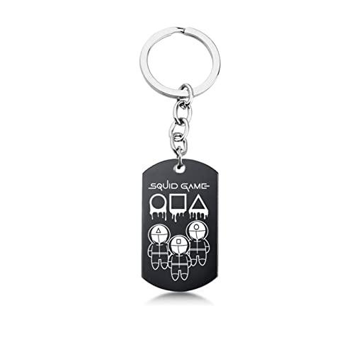 Canghai Juego de calamar, llavero de metal, accesorios para bolsas, llaves, regalo para fans, Plata 7, Small