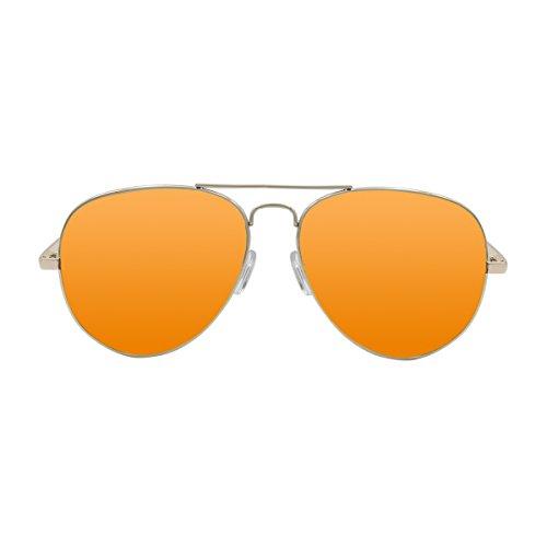 Ocean Sunglasses Banila Aviator - Gafas de Sol metálicas - Montura : Dorada - Lentes : Naranja Espejo (3701.3)