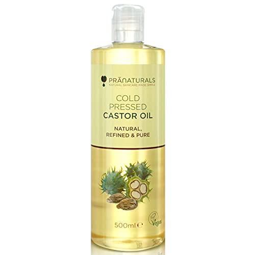 Huile de ricin pressée à froid PraNaturals 500 ml – 100 % naturelle, végane, pure, pour encourager la croissance des cheveux et des cils, adoucir la peau et le visage. Riche en OMEGA-6 et OMEGA-9