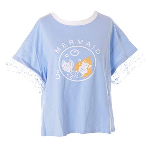 TP-198 Blau Meerjungfrau Ärmeln mit Rüschen Zeichenfigur Grafik T-Shirt Kawaii