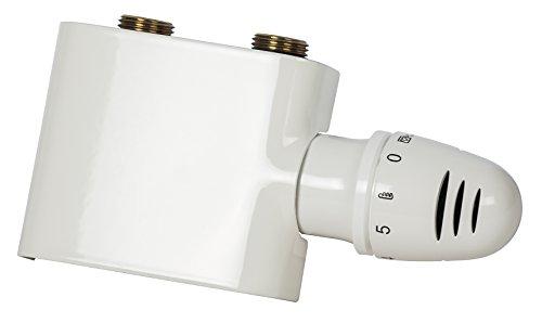 Schulte H3743004 Thermostat-Set für Heizkörper mit Mittelanschluss, Set Durchgang, Vorlauf und Rücklauf, Zweirohrsysteme, weiß