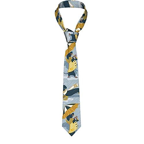 LKKPT Perros salchicha azul marino con impermeables y paraguas amarillos y transparentes Corbata Corbatas divertidas Corbatas anchas de moda novedosas para hombres adolescentes