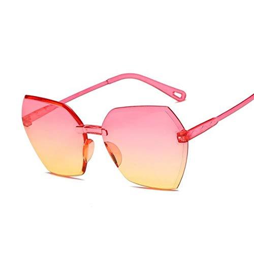 YUHANGH Gafas de Sol de Color Caramelo Gafas de Sol cuadradas sin Marco para Mujer Gafas graduadas Retro de diseñador para Hombres