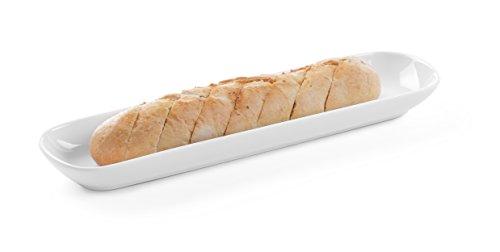 HENDI Baguetteschale, Hohe Schlag- und Verschleißfestigkeit, Servierschüsseln, Dessertschale, Snackschale, Schüssel, 383x100x(H)35mm, Weiß Porzellan