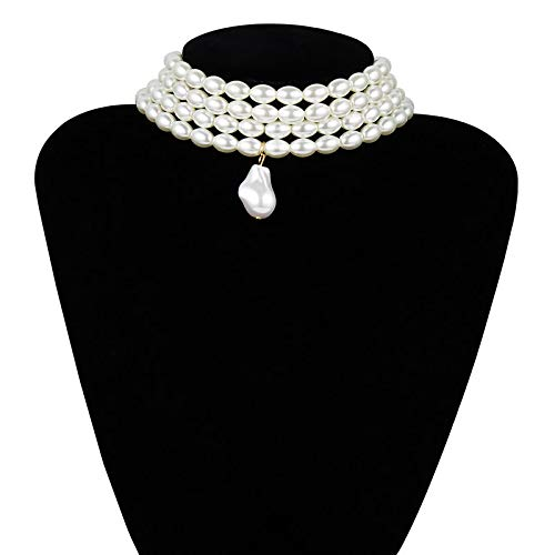 shangwang Ricepearl Multi-Strand Imitation Pearl Pendant Necklace for Women