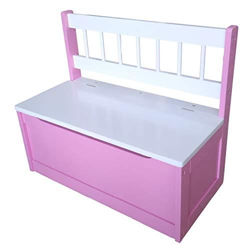 Unbekannt Kinder Truhenbank pink/weiß 60 x 50 x 30 cm Aufbewahrung Kinderzimmer Ordnung - 2