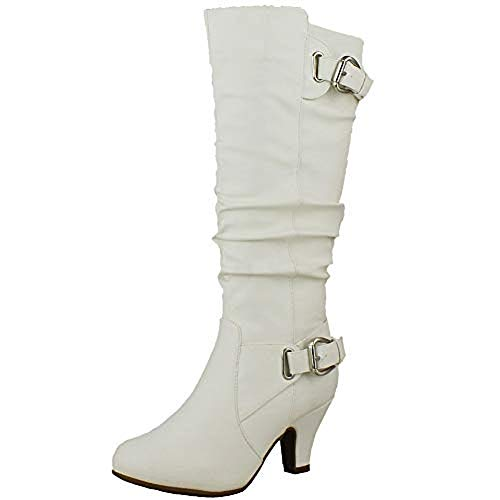 TOP Moda Womens Bag-55 Knee High Buckle Slouched Kitten Heel Boots, White 10