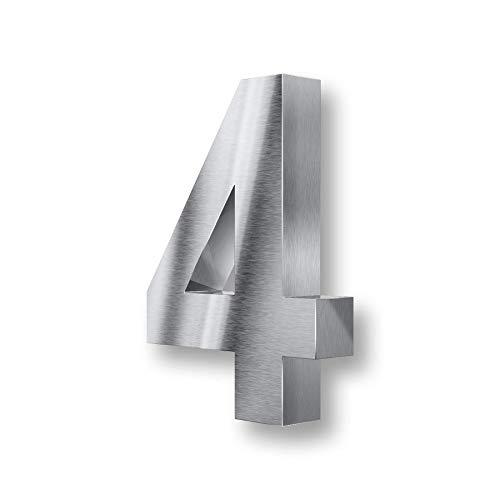 Metzler 3D Hausnummer Edelstahl - wetterfest & pflegeleicht - Außenbereich geeignet - mit Montagematerial - grob geschliffen (4)