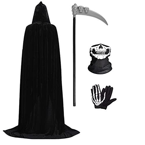 Wishstar Halloween Capa con Capucha,Disfraz Halloween de Terciopelo,Halloween Capa Vampiro con Máscara de Esqueleto Guantes Guadaña,Capa Unisex para Carnaval de Halloween Mascarada(Negro, L)