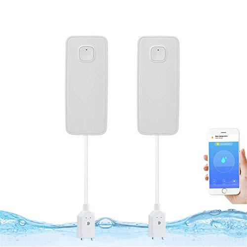 SHOH Wassermelder, Wasseralarm Wasser, Push-Benachrichtigungen Auf Smartphones, WiFi Wasser Alarm Wassersensor Wasser Melder Wie Küche, Bad Und Keller Für Küche, (Weiß)