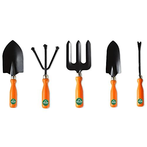 TrustBasket 5Pcs Durable Gardening Hand Tool Kit for Home Gardening (Weeder, Big Trowel, Hand Fork,Cultivator)