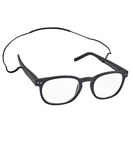 Reading Glasses for Men & Women with Removable Cord - Prescription Readers with Durable TR90 Thermoplastic Frames & Integrated Silicone Chain - Purple and Black Fashion Reader Glasses | +200 Strength
