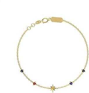 L'azurde Miss L Shining Stars 18K Gold Star-Charm Stone-Embellished Bracelet for Women