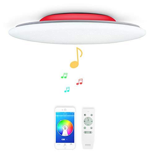 48W Φ51cm Estrellado Musica Plafones LED con 2 Bluetooth Altavoz y Mando,...