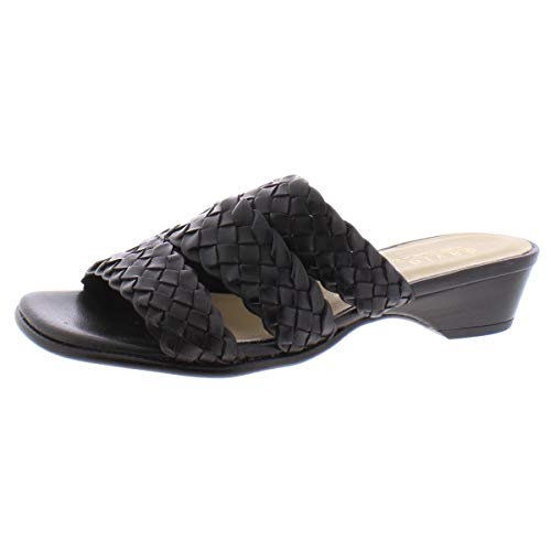 David Tate Womens Adagio Leather Open Toe Casual Slide Sandals, Black, Size 9.5