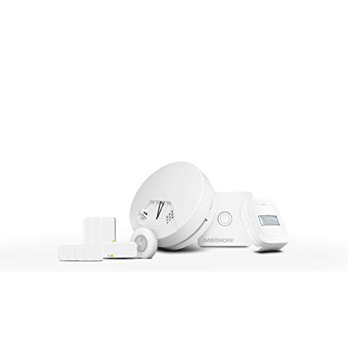 MEDION P85754 Smart Home Starter Set Einsteiger (1x Smart Home Zentrale, 1x Netzteil, 4X Tür und Fensterkontakte, 1x Bewegungsmelder, 1x Erschütterungssensor)