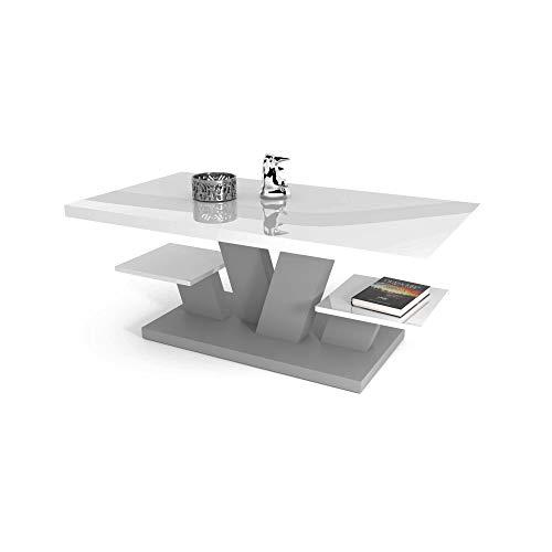 Petite Table Basse Blanche Laque - Moderne Meuble Scandinave - avec Deux étagères Rangement Haute Brillance Decoration Salon Design 110x60x45 cm (Gris Clair)