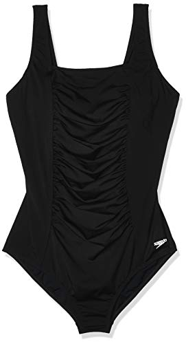 Speedo Women's Swimsuit One Piece Endurance+ Shirred Tank Moderate Cut