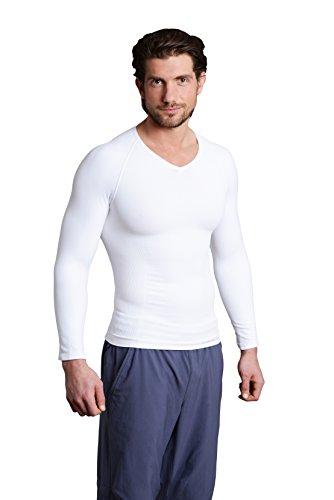 Strammer Max V Neck Longsleeve Funktionsshirt, atmungsaktives Compression Shirt (hochwertiges Meryl Skinlife Gewebe) Farbe:Weiß (XXL)