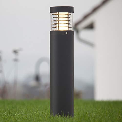 Lampenwelt LED Außenleuchte 'Lucius' (spritzwassergeschützt) (Modern) in Schwarz aus Aluminium (1 flammig, A+, inkl. Leuchtmittel) - Wegeleuchte, Pollerleuchte, Wegelampe, Sockelleuchte