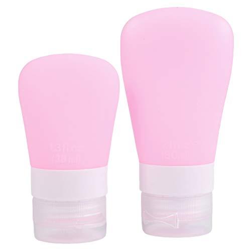 Cabilock 2 Pcs Étanche Fuite Compressible Silicone Tubes Bouteille Voyage Taille Toilette Bouteille pour Shampooing Liquide Crème Rose (38 ML + 60 ML)