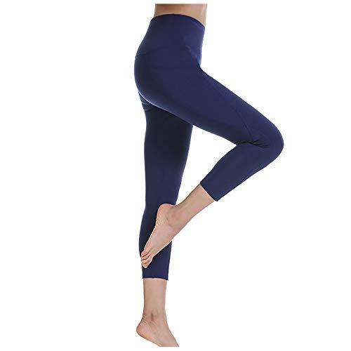 Marijee - Pantalón de yoga para mujer, cintura alta, anticelulitis, ajustado azul marino M