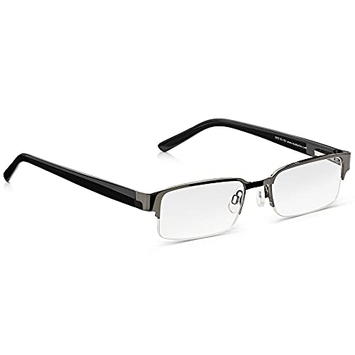 Gafas Graduadas READ OPTICS de Lectura Vista de Hombre. Negras, Bisagras de Resorte, Media Montura Vintage. Lentes Transparentes Anti-Reflejo para Ordenador desde +1,50 hasta +3,5