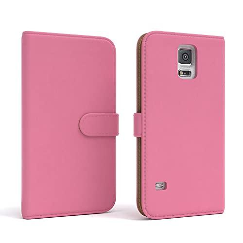 EAZY CASE Tasche kompatibel mit Samsung Galaxy S5/LTE+/Duos/Neo Schutzhülle mit Standfunktion Klapphülle Bookstyle, Handytasche Handyhülle mit Magnetverschluss & Kartenfach, Kunstleder, Rosa