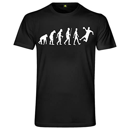 Evolution Handball T-Shirt | Handballer | Handballspiel | Sport | Werfen Schwarz M