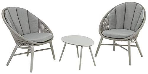 DehnerBalkonset Florenz, 3-teilig,inkl. Polster, Aluminium/Textilien, grau