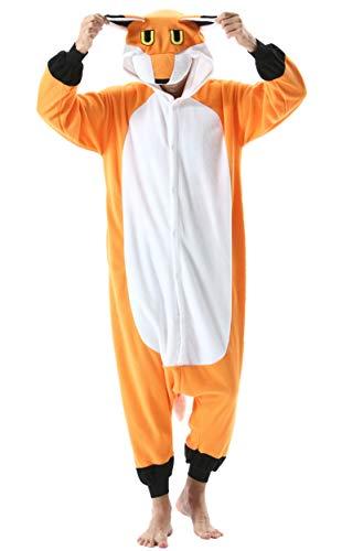 Pijama Animal Entero Unisex para Adultos con Capucha Cosplay Pyjamas Ropa de Dormir Kigurumi Traje de Disfraz para Festival de Carnaval Halloween Navidad Zorro