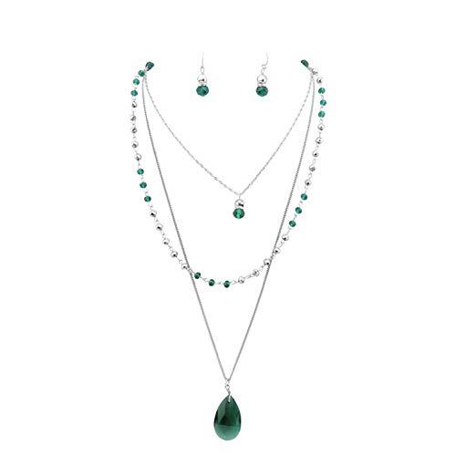 Bocar - Parure di gioielli, composta da collana a 3 livelli, con filo di perline, catenina lunga, ciondoli e orecchini, da donna e nichel, colore: Verde scuro, cod. NK-10036