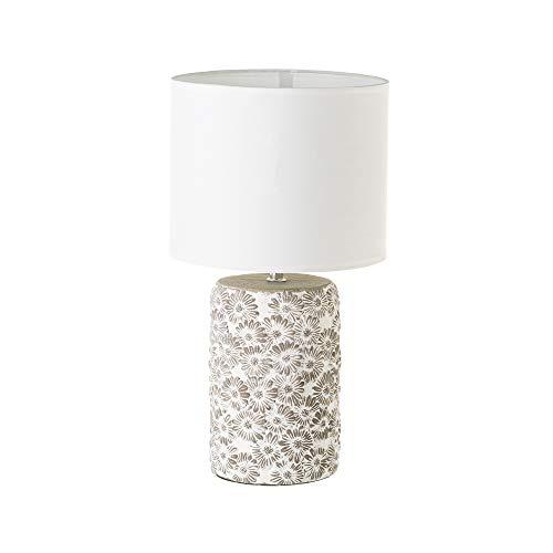 Lámpara con flores shabby chic de cemento blanca, de ø 21x40 cm - LOLAhome