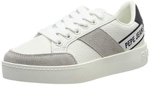 Pepe Jeans London Brixton Tape, Zapatillas para Mujer, White 800, 36 EU