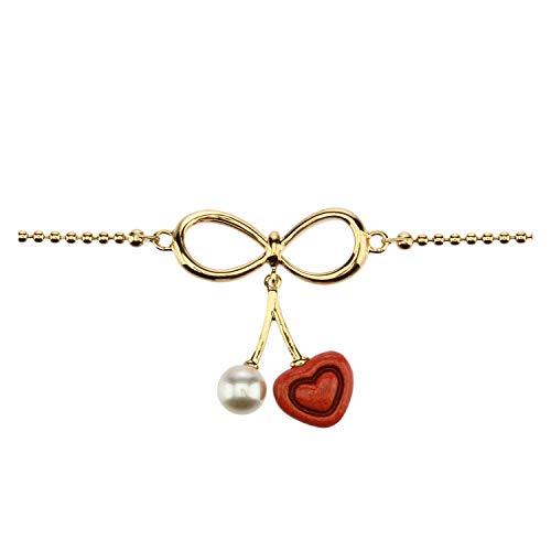 THUN ® - Bracciale'Love drops' - placcato in Oro con Cuore pendente - Ceramica - 16 cm (+2 cm)