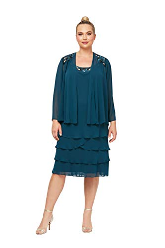 S.L. Fashions Women's Plus-Size Sequin Chiffon Jacket Dress, Sapphire, 22W (Apparel)