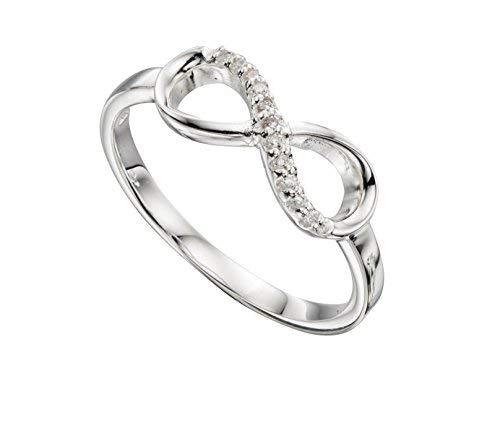 In argento sterling, con zirconia cubica infinito anello K–S–British Made–Hallmarked, Argento, 50 (15.9), colore: Silver, cod. JR3383C