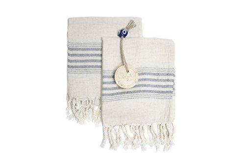 Ahenque Set of 2 Linen Cotton Blend Premium Quality, Long Tea Towel Natural in Color and Eco-Friendly Dish Towel, Hand-loomed Dishclothes, Cream Kitchen Towel Set, Hand Towel Set (Black)