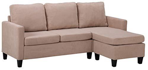 Sofá seccional de combinación de muebles para sala de estar elegante lino transpirable tela en forma de L beige sofá de 3 asientos