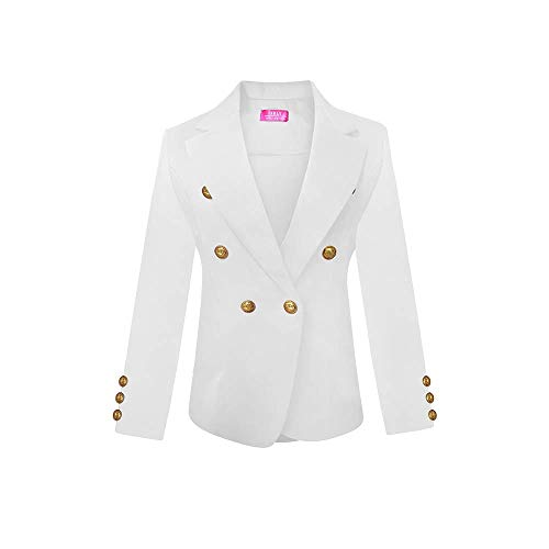 Womens Double Breasted Gold Button Front Blazer Jacket(White,Large)