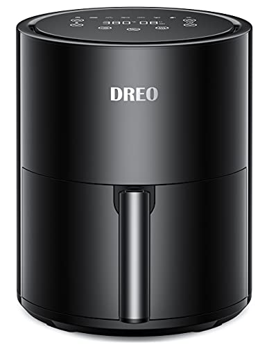 Dreo Air Fryer - 100℉ to 450℉, 4 Quart Hot Oven Cooker with 50 Recipes, 9 Cooking Functions on Easy Touch Screen, Preheat, Shake Reminder, 9-in-1 Digital Airfryer, Black, 4L (DR-KAF002)