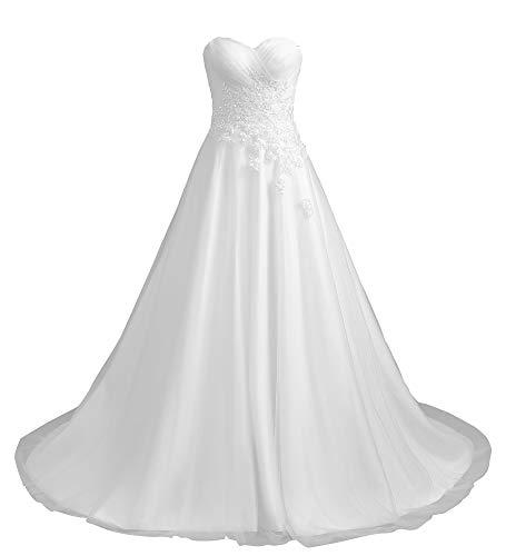 Romantic-Fashion Brautkleid Hochzeitskleid Weiß Modell W194 A-Linie Stickerei Satin trägerlos DE Größe 38