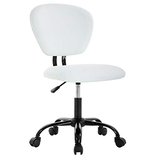 Office Chair Ergonomic Cheap Desk Chair PU Leather Computer Chair Task Rolling Swivel Stool Mid Back Executive Chair with Lumbar Support for Women&Men, White